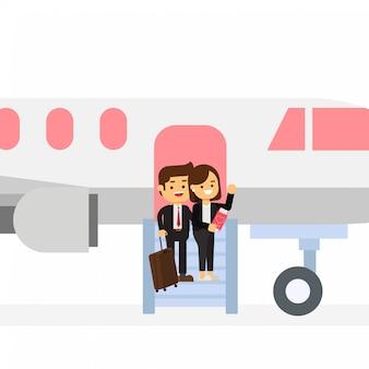 Happy valentines biznesmen i dziewczyna wysiąść z samolotu