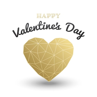 Happy valentines day card, wielokątne serce