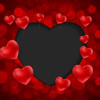 Happy valentines day card z sercem.