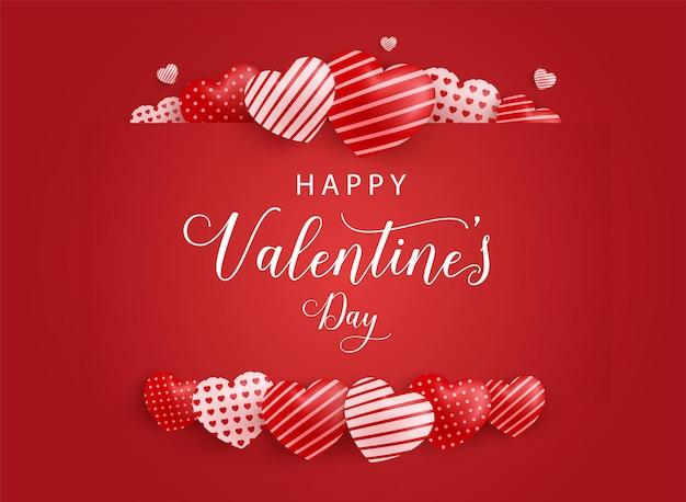 Happy valentines day design z pięknymi sercami