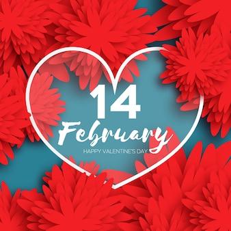 Happy valentines day greeting card. czerwony kwiat cięty z papieru i serce