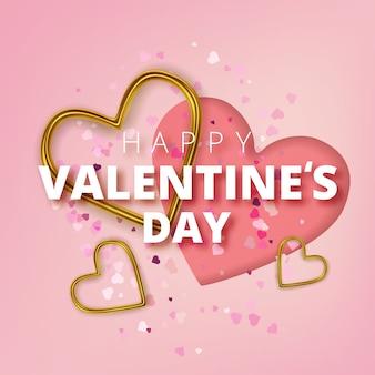 Happy valentines day kartkę z życzeniami, realistyczne złote metalowe serca i tekst na różowym tle