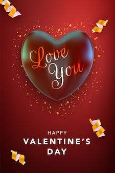Happy valentines day kartkę z życzeniami z czerwonym sercem i wstążkami