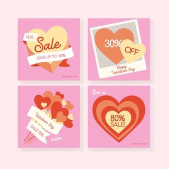 Happy valentines day kartki z życzeniami modne abstrakcyjne szablony sztuki kwadratowej