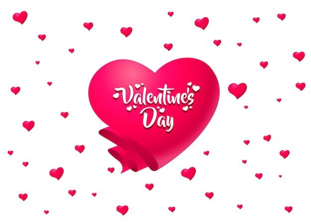 Happy valentines day karty. różowe serce z małych serduszek z białym tytułem.