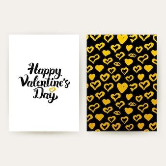 Happy valentines day modne plakaty. ilustracja wektorowa wzór złota z odręcznym napisem.