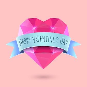 Happy valentines day napis greeting card. diamentowy kształt serca