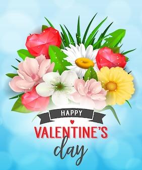 Happy valentines day romantyczny plakat
