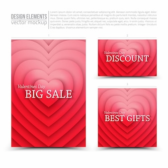 Happy valentines day sale vector design elements flyer card banner