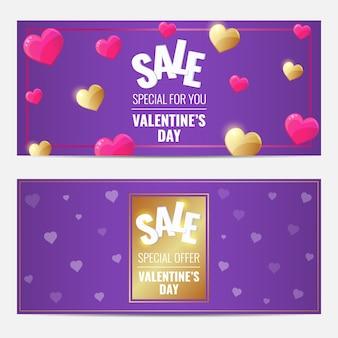 Happy valentines day sprzedaż fioletowy gorizontal zestaw bannerów z złote i różowe serca.