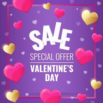 Happy valentines day sprzedaż fioletowy sztandar ze złotymi i różowymi sercami.