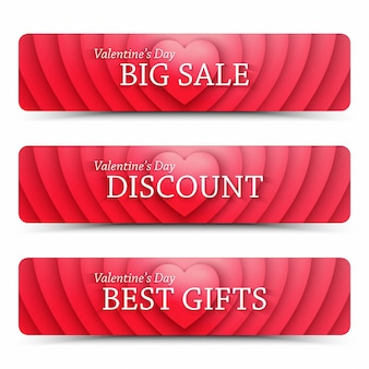 Happy valentines day sprzedaży w sieci web banery zestaw