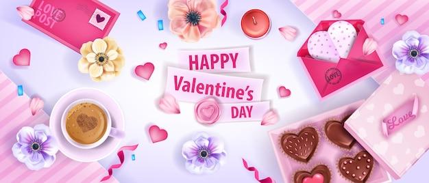 Happy valentines day wektor widok z góry tło z kwiatami zawilce, koperty, ciasteczka, filiżanka kawy. wakacyjny transparent układ romantycznej miłości, desery, serca, płatki. walentynki randki tło