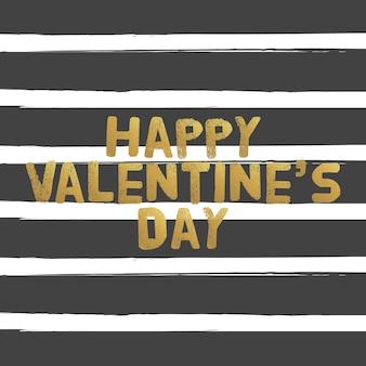 Happy valentines day złote litery. ilustracja wektorowa karty greating.