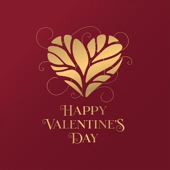 Happy valentines day złoty typografii kartkę z życzeniami