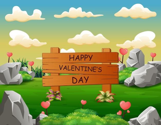 Happy valentines day znak w zielony krajobraz
