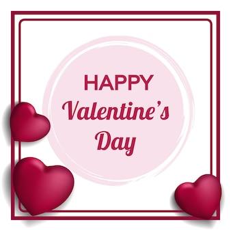 Happy valentines kartkę z życzeniami z realistycznymi sercami 3d i ramką