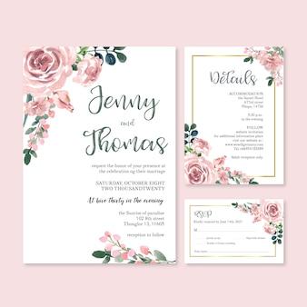 Happy wedding card kwiatowy ogród zaproszenie karty małżeństwa, szczegóły rsvp.
