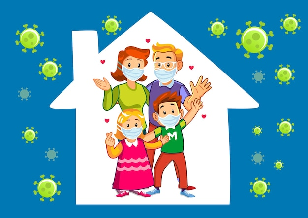 Happy western rodzina protestująca przeciwko nakazowi pozostania w domu