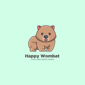 Happy wombat cute cartoon illustration logo.