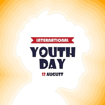 Happy youth day banner light head boy design