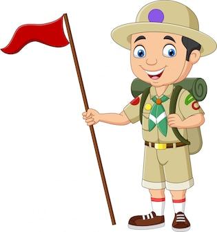 Harcerz kreskówka trzymając czerwoną flagę