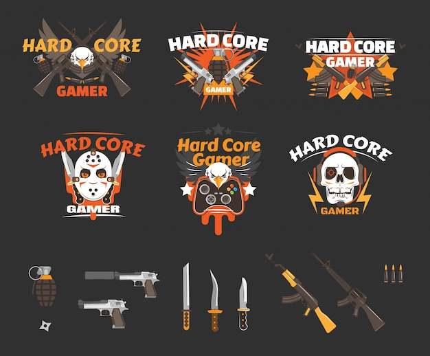 Hard core gamer avatar odznaka kolekcja, płaskie wektorowe ilustracje