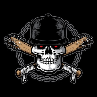 Hardcore czaszki wektor z łańcuchem