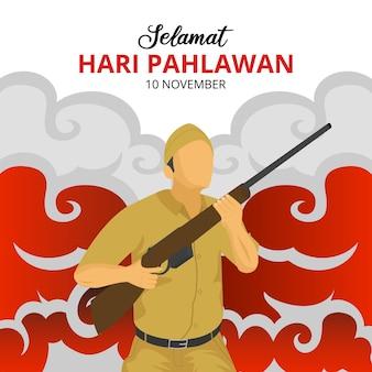 Hari pahlawan lub tło dnia bohaterów indonezji z żołnierzem trzymającym ilustrację broni