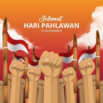 Hari pahlawan nasional lub tło dnia bohaterów indonezji z pięścią i wyostrzoną bambusową ilustracją