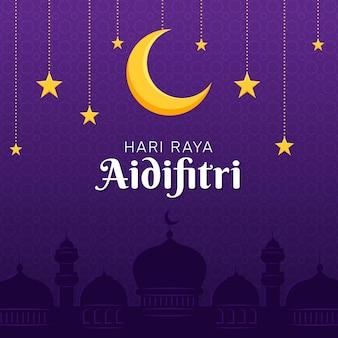 Hari raya aidilfitri księżyc i gwiazdy