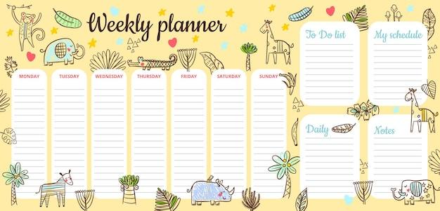 Harmonogram dla dzieci ze zwierzętami z sawanny mieszkającymi w zoo. słoń, nosorożec, zebra, krokodyl, małpa, żyrafa. do planowania dnia, tygodnia, listy rzeczy do zrobienia