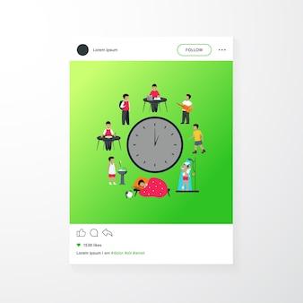 Harmonogram dziecka w wieku szkolnym. zegar z dziećmi, spanie, jedzenie, nauka, odpoczynek, po prysznic płaskiej ilustracji wektorowych. szablon aplikacji mobilnej codziennej rutyny
