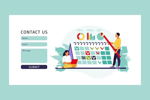 Harmonogram i harmonogram projektu. formularz kontaktowy. pojęcie zarządzania czasem, sposób planowania pracy, organizacja codziennych celów i osiągnięć.