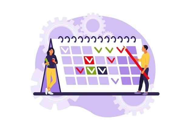 Harmonogram i harmonogram projektu. pojęcie zarządzania czasem, sposób planowania pracy, organizacja codziennych celów i osiągnięć. mieszkanie izolowane.