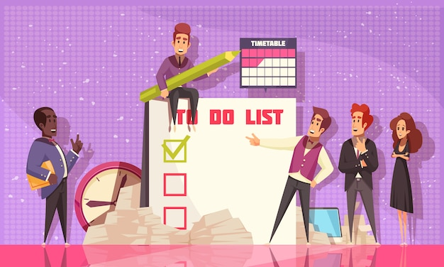 Harmonogram planowania kompozycji płaskiej ilustruje duży notatnik z listą planowanych zadań biznesowych