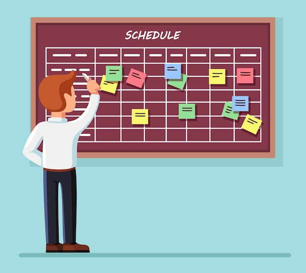 Harmonogram planowania na tablicy zadań. planista, kalendarz na tablicy. praca zespołowa, zarządzanie współpracą