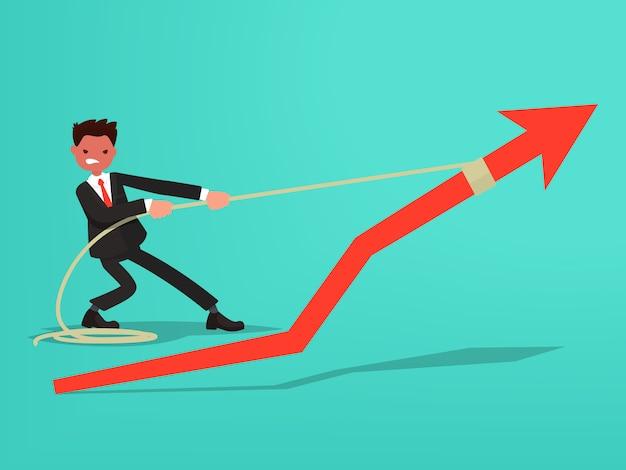Harmonogram sprzedaży. biznesmen dokłada starań, aby zwiększyć sprzedaż.