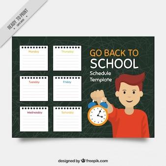 Harmonogram szkoła szablonu arkuszy notebooków i chłopiec z alarmem