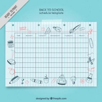 Harmonogram szkoła z rysunkami na powrót do szkoły