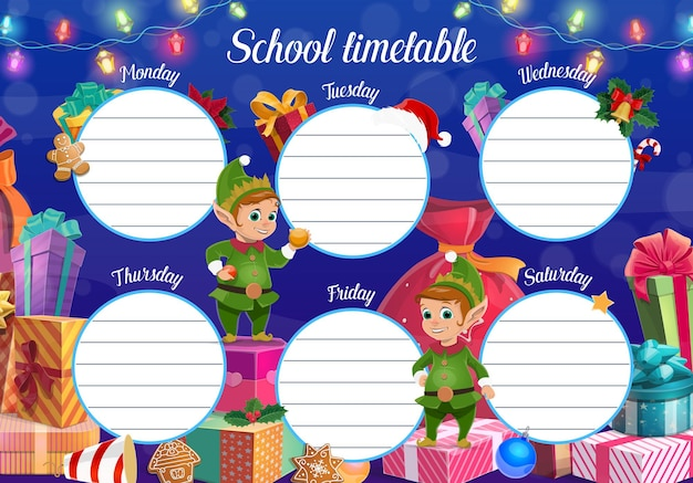 Harmonogram szkoły dla dzieci z bożonarodzeniowymi elfami i prezentami. szablon codziennego planowania edukacji dla dzieci, harmonogram tygodniowy z uroczymi pomocnikami świętego mikołaja i zapakowanymi prezentami, wektor kreskówka z piernika