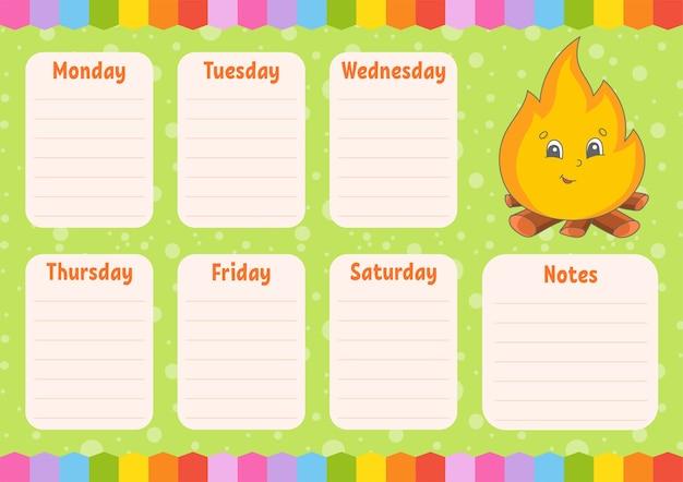 Harmonogram szkoły. harmonogram dla uczniów. pusty szablon. planer tygodniowy z notatkami.