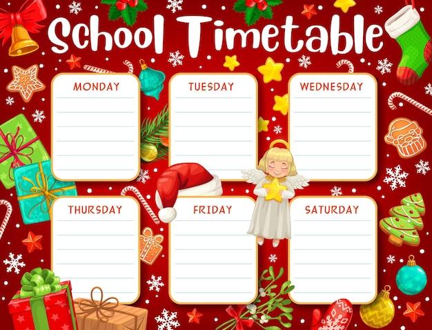 Harmonogram szkoły lub harmonogram edukacji studentów na tle kreskówka prezenty świąteczne. tygodniowy plan lekcji, planer i plan nauki lekcji przedszkolnych lub klas z pudełkami na prezenty świąteczne