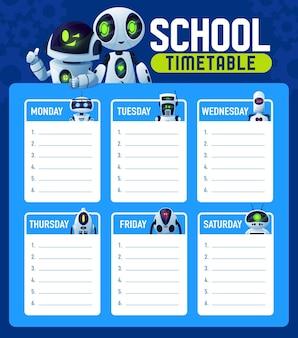 Harmonogram z robotami, plan lekcji w tygodniu szkolnym, tło wektor. harmonogram szkolny z droidami chatbotami, rysunkowymi cyber-sztucznymi kosmitami i robotycznymi humanoidami