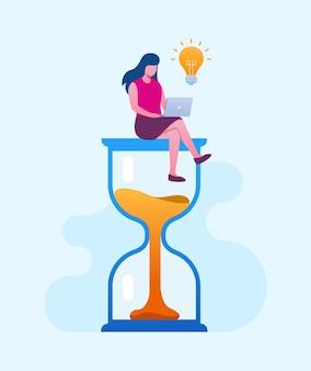 Harmonogram zarządzania czasem w biznesie płaski baner ilustracji wektorowych i strona docelowa