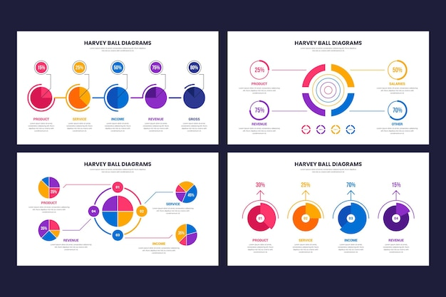Harvey piłka diagramy infographic szablon
