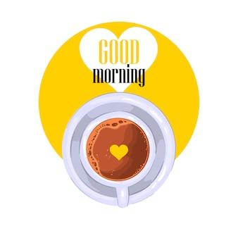 """Hasło """"dzień dobry"""" z filiżanką kawy w żółtym kółku z białym sercem."""