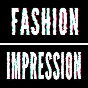 Hasło fashion impression, typografia holograficzna i glitch, graficzna koszulka, drukowany design.