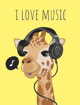 """Hasło """"kocham muzykę"""" z żyrafą na słuchawkach"""