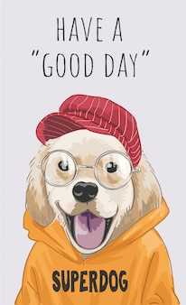 """Hasło """"miłego dnia"""" z uroczym psem"""